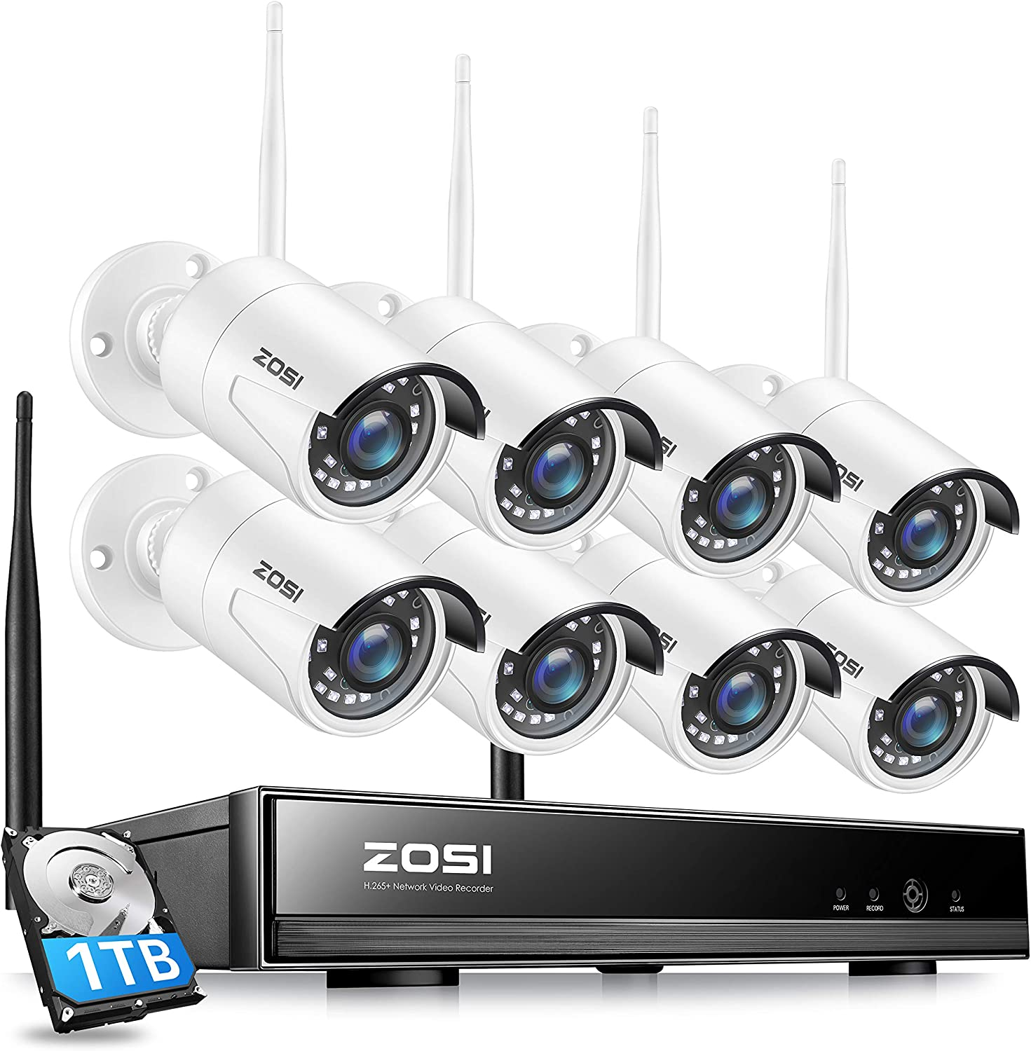 ZOSI 1080P Wireless Security Cameras System with 1TB Hard Drive, Night Vision, Remote Access