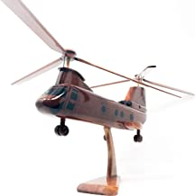 CH-46 Seaknight Replica Helicopter Model Hand Crafted with Real Mahogany Wood