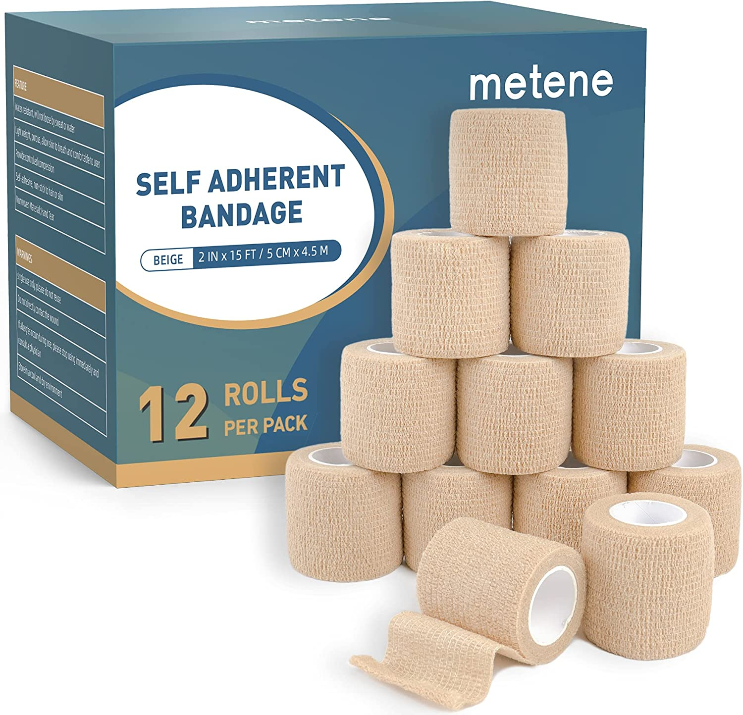 Metene Self Adhesive Bandage Wrap 12 Pack, Athletic Tape 2 Inches X 5 Yards, Sports Tape, Breathable, Waterproof, Elastic Bandage for Sports, Wrist and Ankle Wrap Tape, Non-Woven Bandage : Health & Household