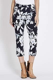 Rockmans Crop Printed Zip Detail Pocket Pant Blue Floral 8 - Womens