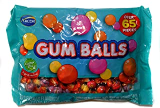 Arcor (1) Bag Gum Balls Assorted Flavors - Over 65 Pieces Individually Wrapped Chewing Gum - Bubble Gum, Orange, Peach, Cherry, Tutti Frutti Flavors - Net Wt. 7 oz