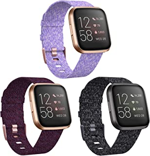 KIMILAR 3-Pack Bands Compatible with Fitbit Versa/Versa 2/Versa Lite Edition, Large Small Soft Woven Fabric Breathable Acc...