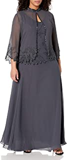J Kara Women's Size Beaded Jacket Dress Plus