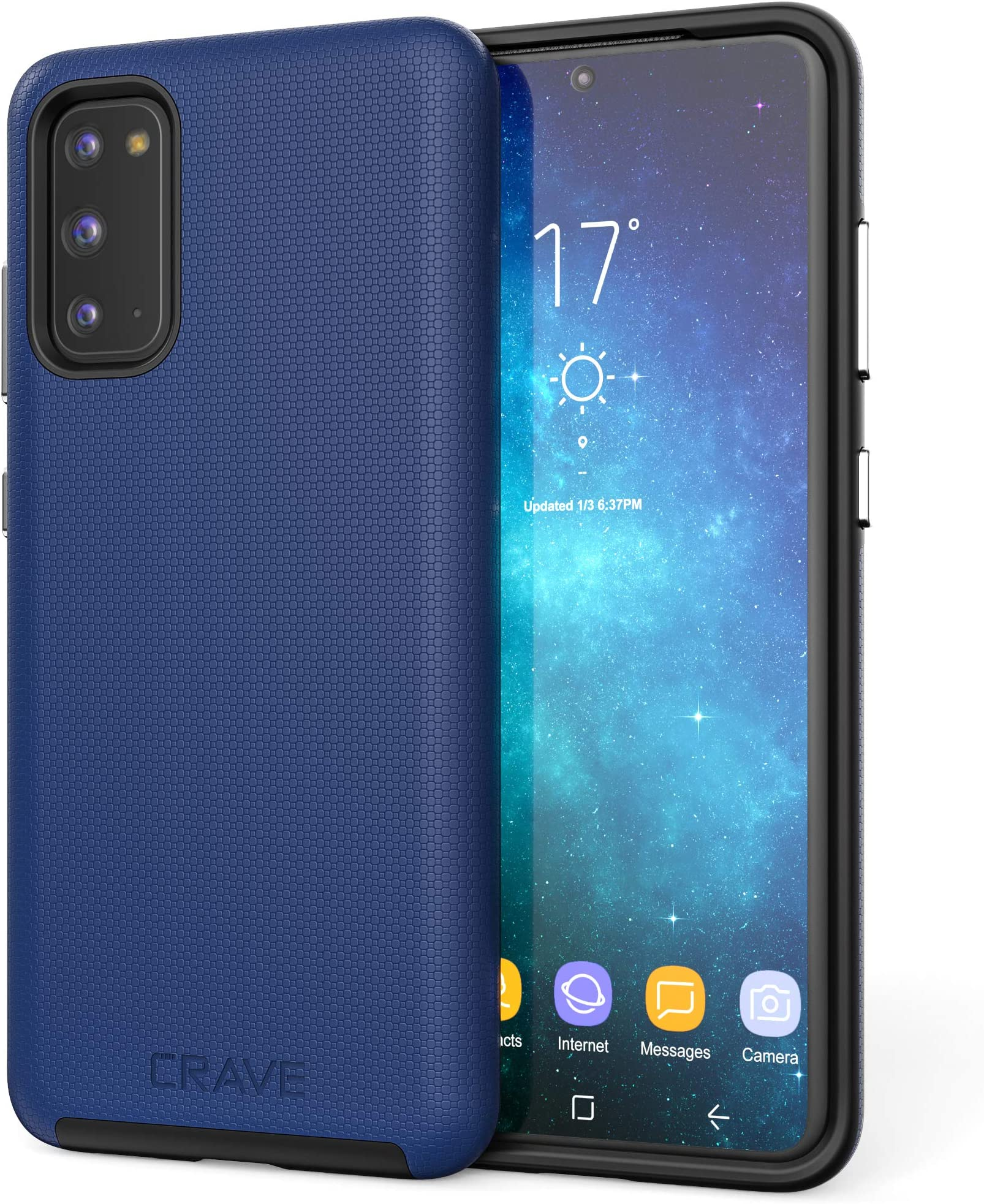 Crave Dual Guard for Samsung Galaxy S20 Case, Shockproof Protection Dual Layer Case for Samsung Galaxy S20, S20 5G - Navy