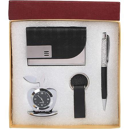 Celebr8 4 in 1 Black Corporate Gift Set with Apple Clock, Crystal Pen, Business Card Holder & Black Keychain