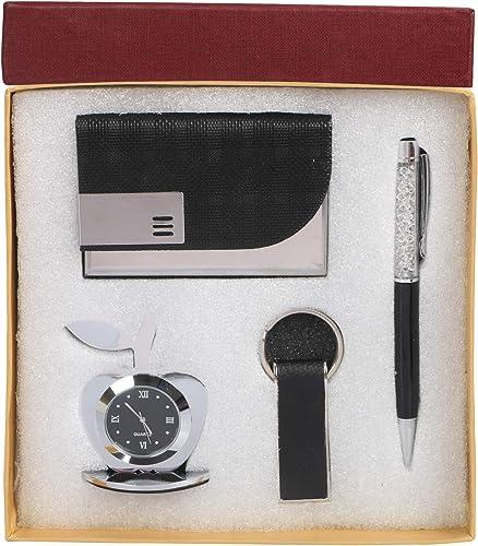 Celebr8 4 in 1 Black Corporate Gift Set with Apple Clock,Crystal Pen,Business Card Holder (Premium Quality) (Black Ke...