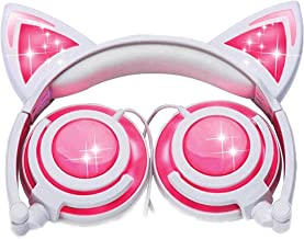Cat Ear Headphones w/Rechargeable LED Lights - Newest 2019 Version Over Ear Headphones for Girls & Compatible for iPad, Android & Others, Lights Up Cat Ears & Speakers (Pink)