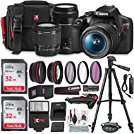Canon T7 EOS Rebel DSLR Camera with 18-55mm and 75-300mm Lenses Kit + UV Filter Set + Tripods +...