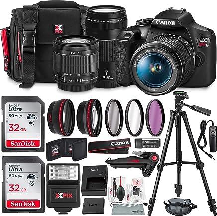 Canon T7 EOS Rebel - Cámara réflex digital con lentes de 0.709-2.165in y 2.953-11.811in + juego de filtro UV + trípodes + flash y tarjeta SD dual de 32 GB