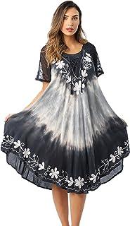 b0c866e1ad0 Riviera Sun Tie Dye Summer Dress with Raglan Eyelet Sleeve   Embroidery