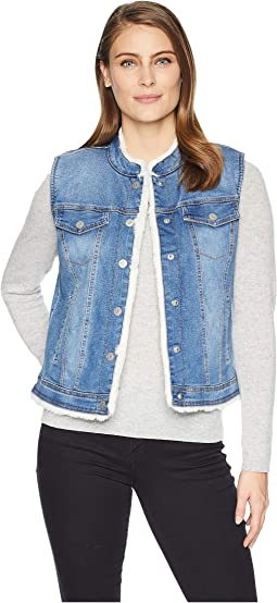 Reversible Jean Vest with Faux Fur Lining