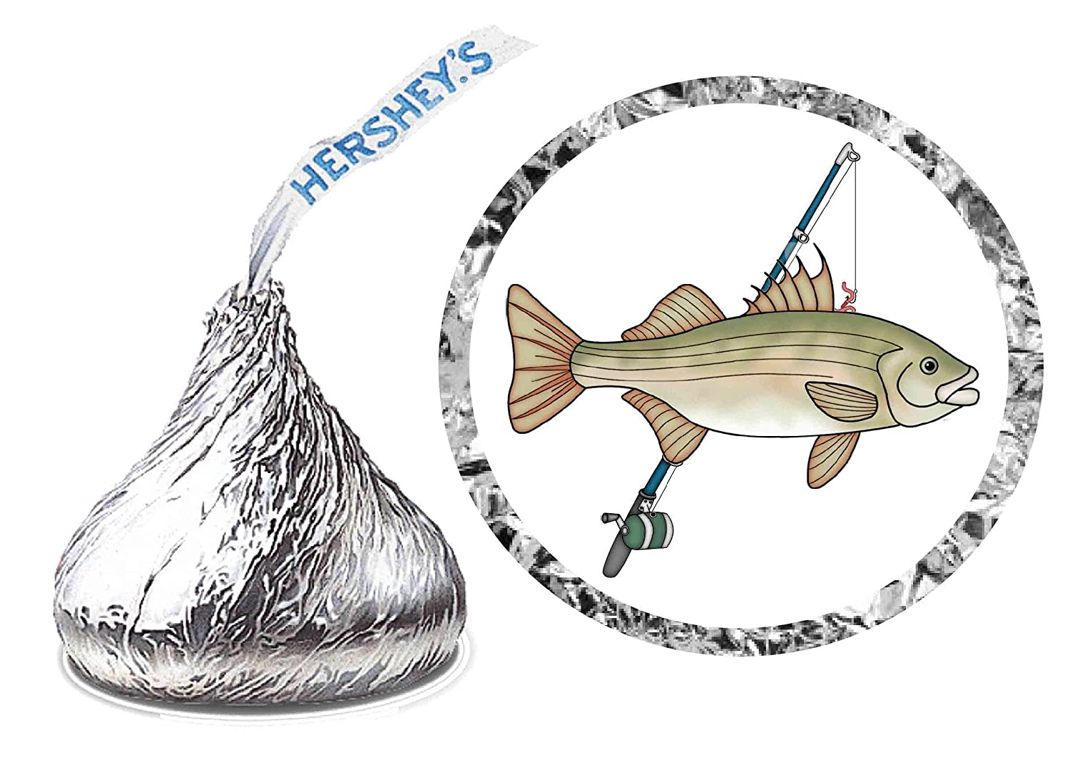 216 FISHING BIRTHDAY Max 67% OFF 2021 PARTY FAVORS KISS HERSHEY LABELS KISSES