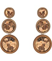 Small to Large Gold/Wood Circles with Brown Cork Centers Post Earrings