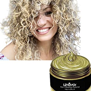 UrbanX Washable Hair Coloring Wax Material Unisex Color Dye Styling Cream Natural Hairstyle Pomade Temporary Party Cosplay Natural Ingredients (Gold)