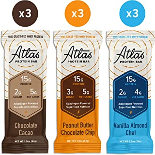 Atlas Protein Bar - Keto Friendly, Variety Pack (9-Pack) — Grass Fed Whey, Low Sugar, Clean Ingredients, All Natural, Gluten Free, Soy Free, and GMO Free