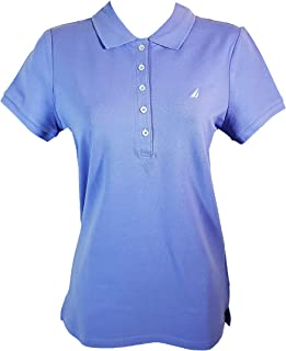 Nautica Women's Short Sleeve Stretch Solid Polo Shirt (S, Deep Periwinkle)