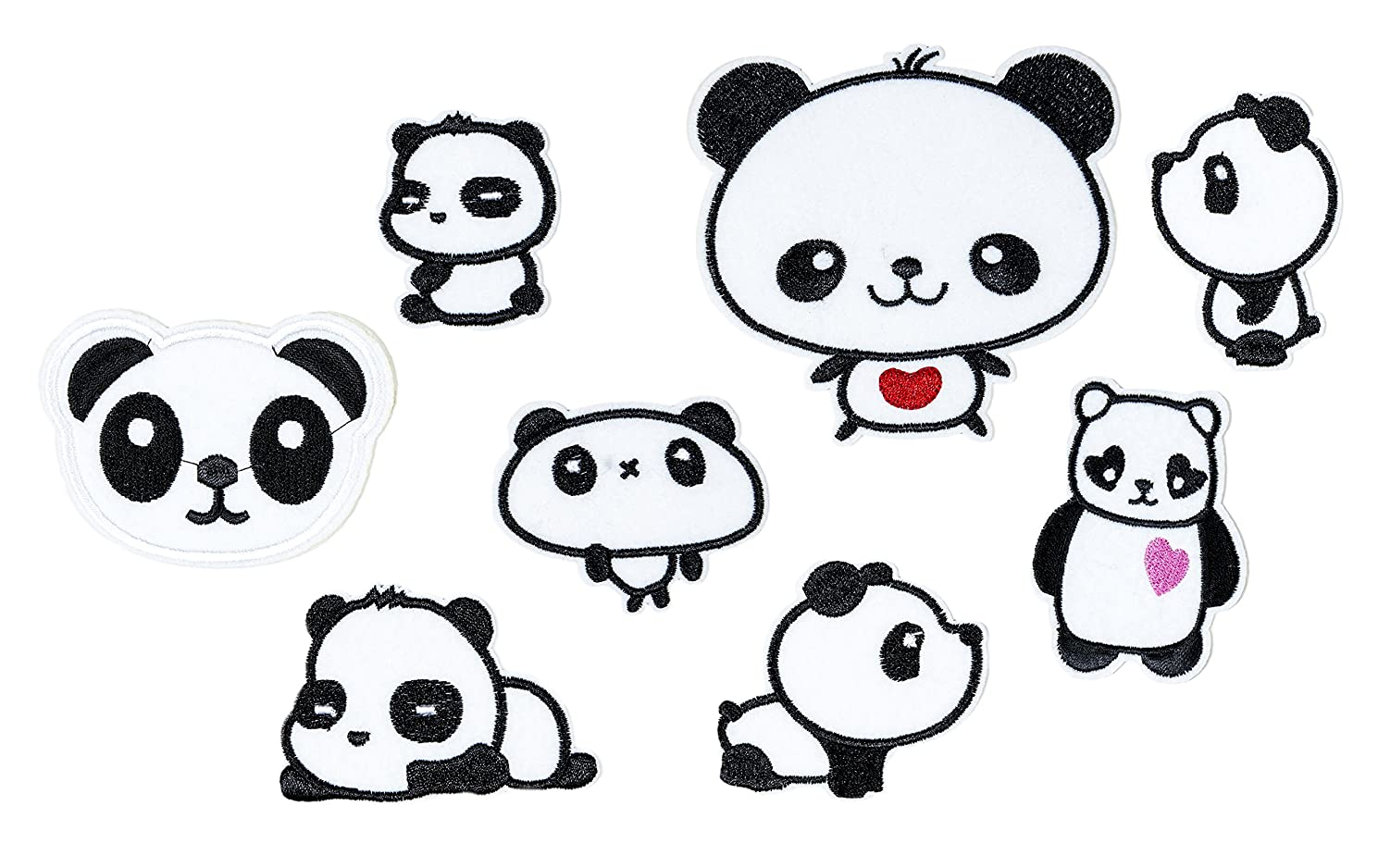 Set of 8 Assorted Embroidery Applique Decoration DIY Patch Panda Funny Custom Design face kit Iron on for Shirt Jacket Bag Hat Pant Vest Jean Cotton Clothes Kid Love Great as Happy Birthday Gift…