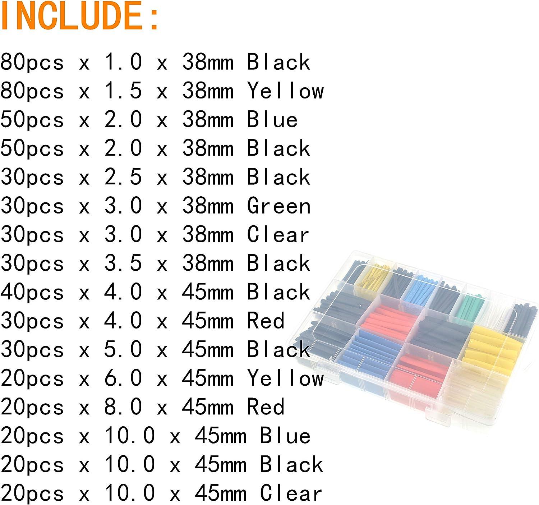 1 Tube thermor/étractable Noir 7 Tailles Ensemble de tubes Combo Assortiment de gaines Wrap Cable Wire Kit pour r/éparation DIY Oiyagai 254 pcs 2