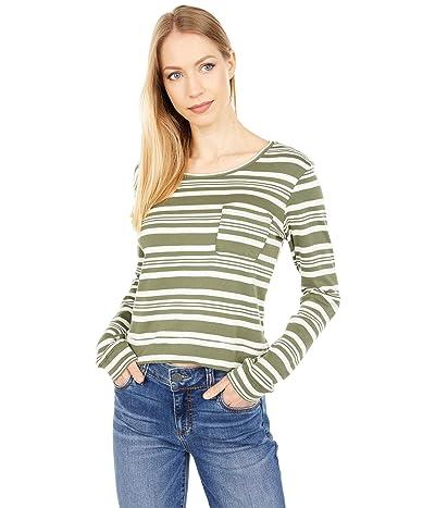 Three Dots Stripe Long Sleeve Pocket Tee in Cotton Modal