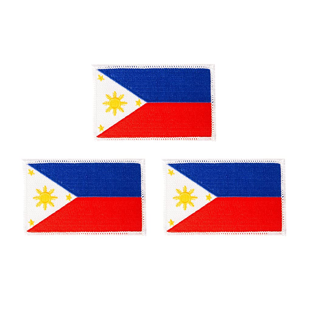 Philippines Flag Patch Bulk 3-Pack 3.5Wx2.25H State Iron On Sew Embroidered Tactical Morale Back Pack Hat Bags (3-Pack Patch)