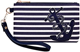 """PU Leather Anchor Purse, 8.5""""x5.0"""" Wristlet Bag Zip Coin Pouch for iPhone Keys"""