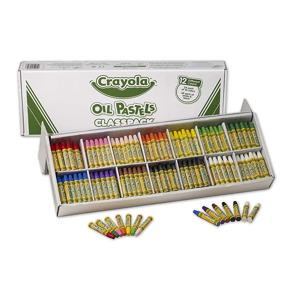 Crayola Oil Pastels Classpack, 12 Brilliant Opaque Colors (336Count) Large Hexagonal Shape Pastels, Ideal for Kids 3 & Up, Non-Toxic, Blendable, Strong, Long Lasting Sticks, Bulk Value Classroom Pack
