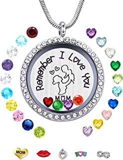JOLIN Living Memory Floating Locket Necklace Pendant with Charms and 24 Birthstones, Best Gifts for Women Girls