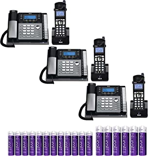 RCA 4-Line Expandable Telephone System 25424RE1 Desk Phones with Built-in Intercom (3-Pack) Bundle with 3-Pack of H5401RE1 Cordless Accessory Handsets, Blucoil 6 AA Batteries, and 12 AAA Batteries