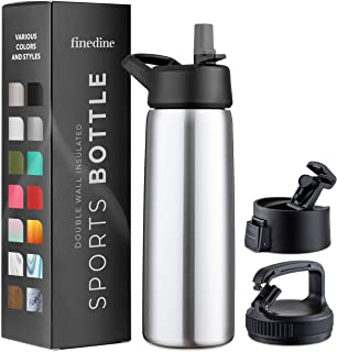 Triple Insulated Stainless Steel Water Bottle With Straw Lid - Flip Top Lid - Wide Mouth Cap (26 oz) Insulated Water Bottles, Keeps Hot and Cold - Great for Hiking & Biking