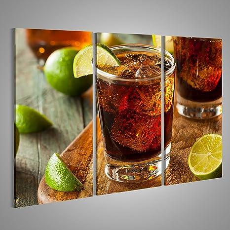 islandburner Cuadro Cuadros Impresión sobre Lienzo - Formato Grande - Cuadros Modernos Cuba Libre Ron Cola Bebidas Cocktail Bar