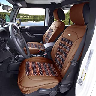 FH Group PU203BROWN102 Premium Leather Cushion Pad Seat Covers Brown Color w. Cooling Rosewood Beads-Fit Most Car, Truck, SUV, or Van
