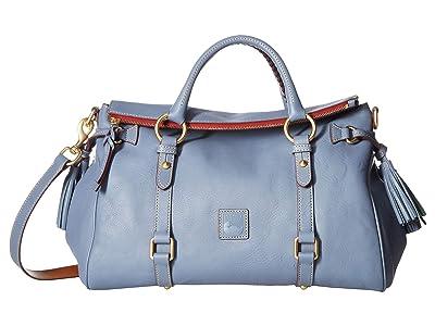 Dooney & Bourke Florentine Vacchetta Satchel (Steel Blue/Steel Blue Trim) Satchel Handbags