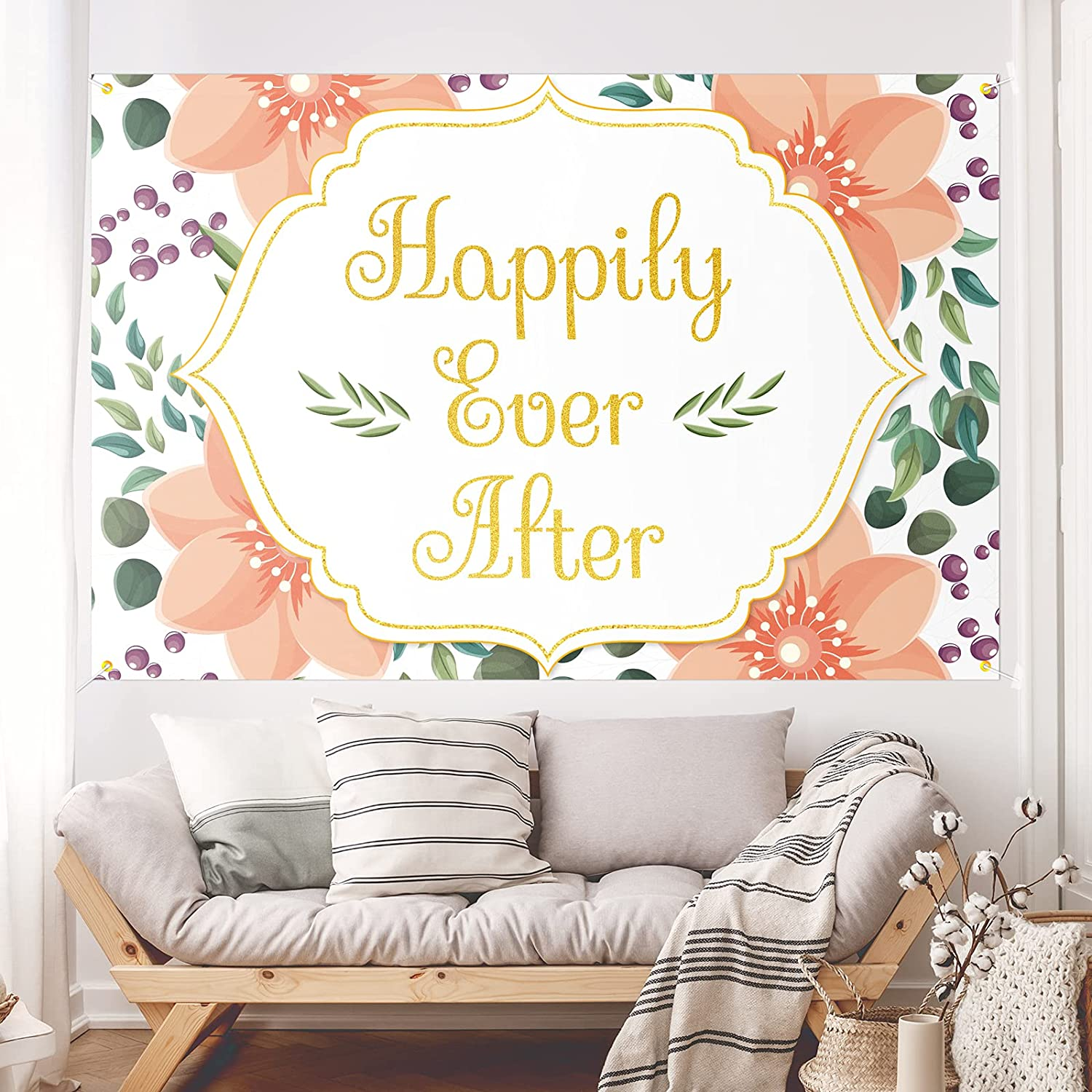Happily Ever After Backdrop Banner Decor White – Floral Wedding Party Theme Decorations Bridal Shower for Women Supplies