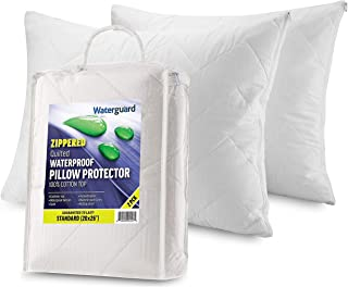 """Zippered Pillow Protector Cover Case   100% Cotton Waterproof Bed Bug Proof   Luxury Quilted Hypoallergenic & Allergy Control   Standard Size (20x26"""") 2 Pack"""
