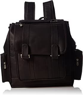 Piel Leather Double Loop Flap-Over Laptop Backpack, Chocolate