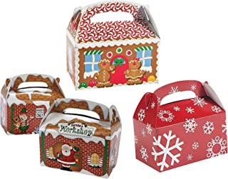Fun Express Christmas Holiday Treat Gift Boxes, 12 Gingerbread House, 12 Santa's Workshop, 12 Red & White Snowflake Variety Pack (36 Total)
