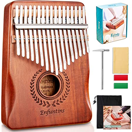 Enfuntins Kalimba 17 Key Thumb Piano, Solid koa Wood High Performance Portable Mbira Finger Piano, Gifts for Kids Adult Beginners with Tuning Hammer and Study Instruction