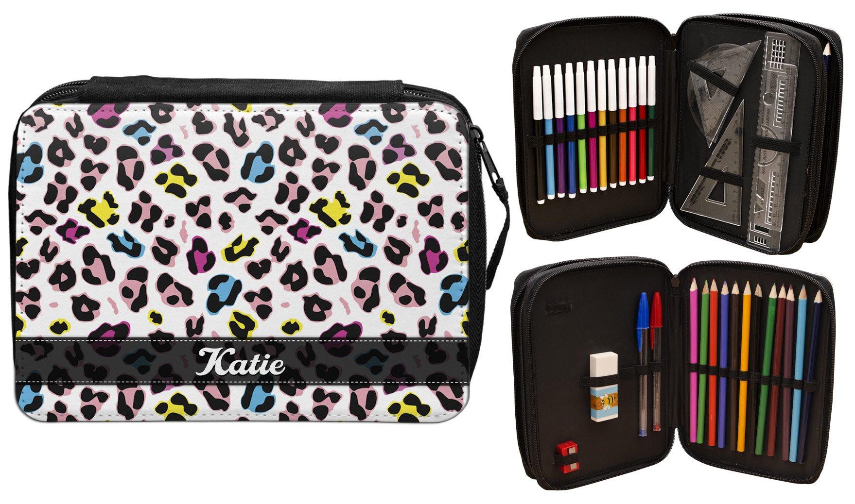 Personalizado Funky leopardo estuche escolar nombre regalo escuela niños.: Amazon.es: Oficina y papelería