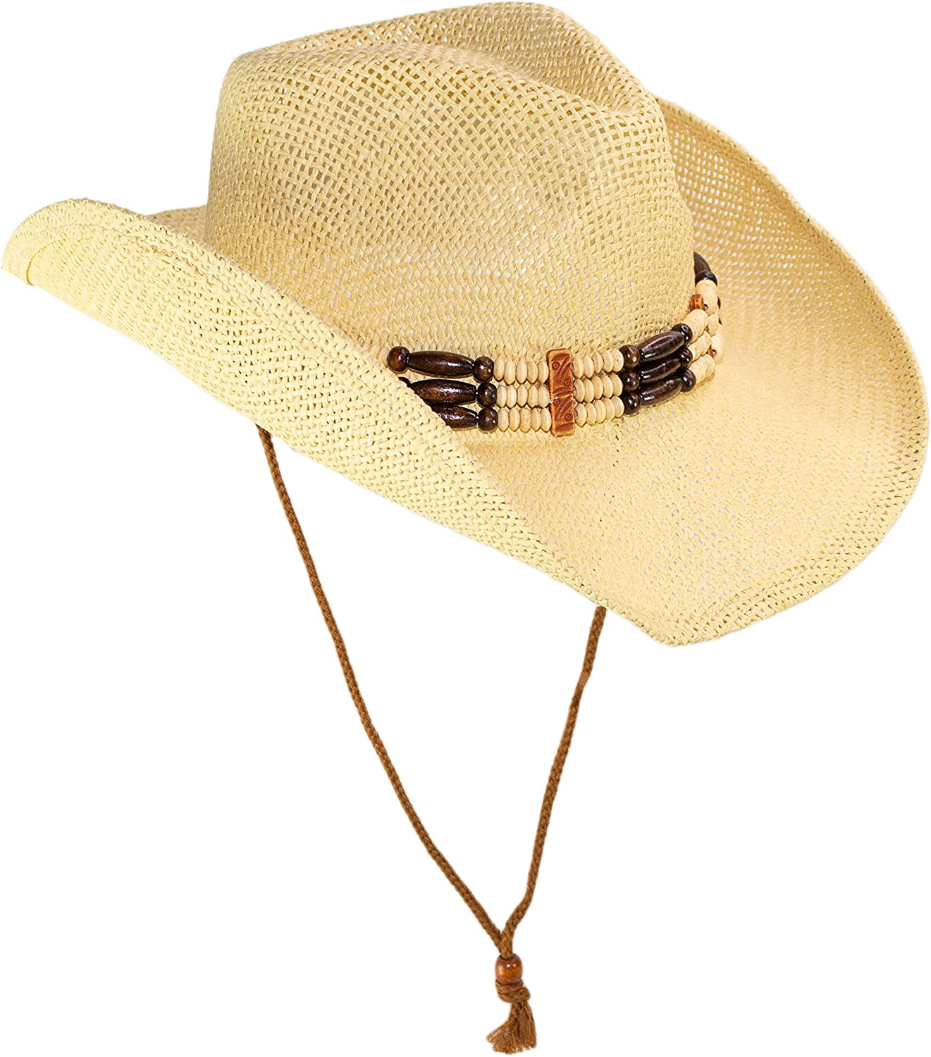 Cute Comfy Flex Fit Woven Beach Cowboy Hat, Western Cowgirl Hat with Wood Bead Hatband Adjustable Chin Strap