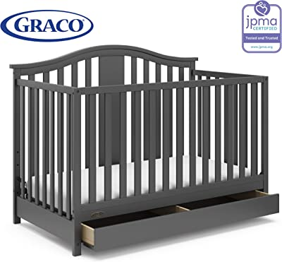 Graco Solano 4-in-1 Convertible Crib with Drawer, Converts to Daybed, Toddler Bed, and Full Size Bed, Undercrib Storage Drawer, Adjustable Mattress Height, Gray