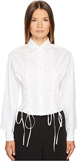 McQ - Short Corset Cotton Lacing Shirt