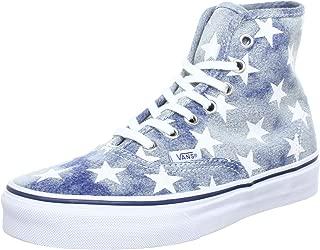 Vans Authentic Washed Denim Blue Stars Classic Hi Top Shoes