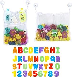 OMZGXGOD Juguetes Bañera,2 Piezas Red de Baño Almacenamiento Bolsa de Juguete con 36 Piezas de Letras y números,bañeras para Bebes,Juguetes para niños ,Letras magneticas
