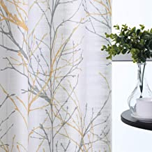 """Semi-Sheer Print Curtains 84-inch Long Living Room Yellow Grey Curtain Panels with White Linen Textured Grommet Tree Branches Window Treatment Set for Living Room Bedroom 50""""W 2Panels"""