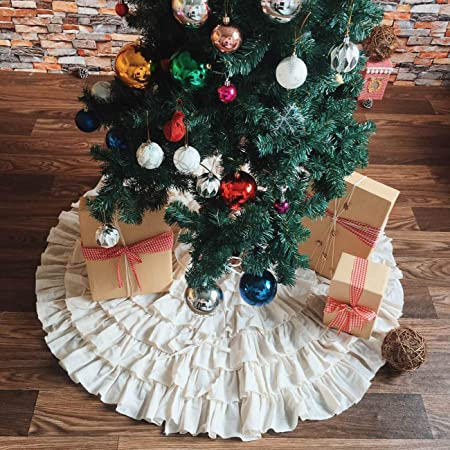 Diameter VHC Brands Shimmer Burlap Creme Ruffled Mini 21 Tree Skirt