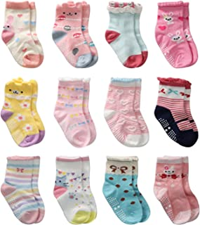 12 Pares de Calcetines Antideslizantes para Niñas Pequeñas Algodón Lindo con Puños, Calcetines Antideslizantes para Piñas Pequeñas Diseños al Azar