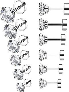 6-12 Pairs 18-20G Stainless Steel Stud Earrings for Men Women Cartilage Ear Piercings Helix Tragus Barbell 3-8mm
