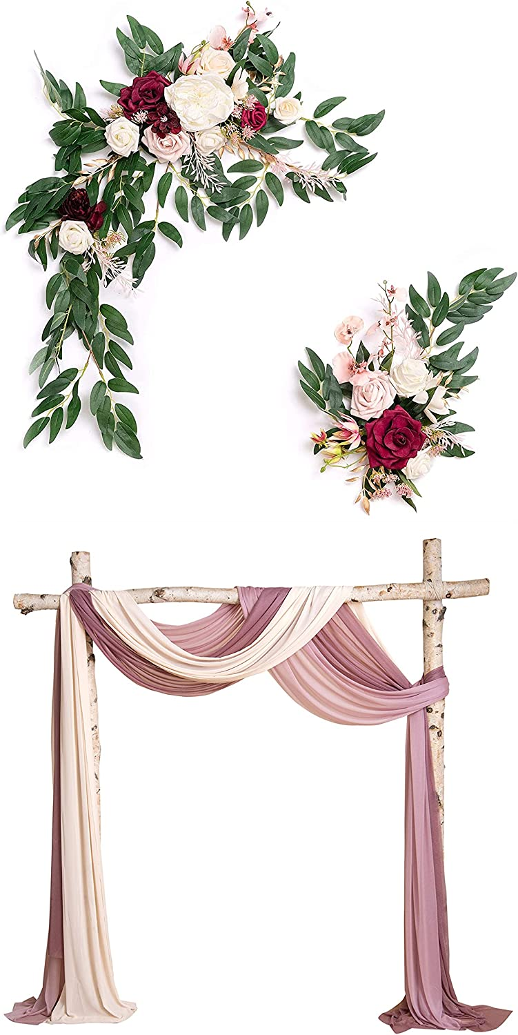 Ling's moment Artificial Flower Swag Ceremon Industry No. 1 for Marsala Luxury Wedding