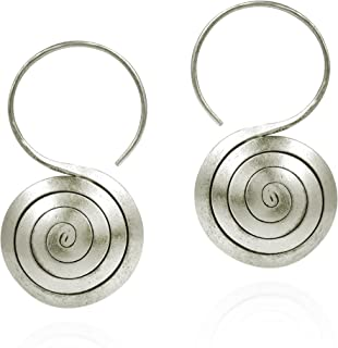 Maze Spiral Rolled Thai Yao Hill Tribe Fine Silver .925 Sterling Silver Dangle Earrings