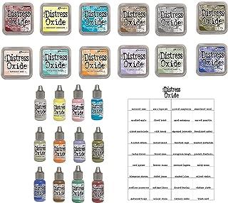 Tim Holtz and Ranger 2018 release Distress Oxide Inks Bundle includes 12 Distress Oxide Ink pads, 12 Distress Oxide Ink Reinkers and Bonus Oxide Ink Color Chart, 25 piece bundle
